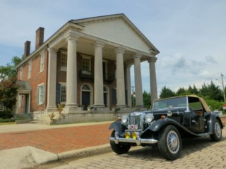 Old State Bank at Decatur AL and 1952 MG TD replica 1